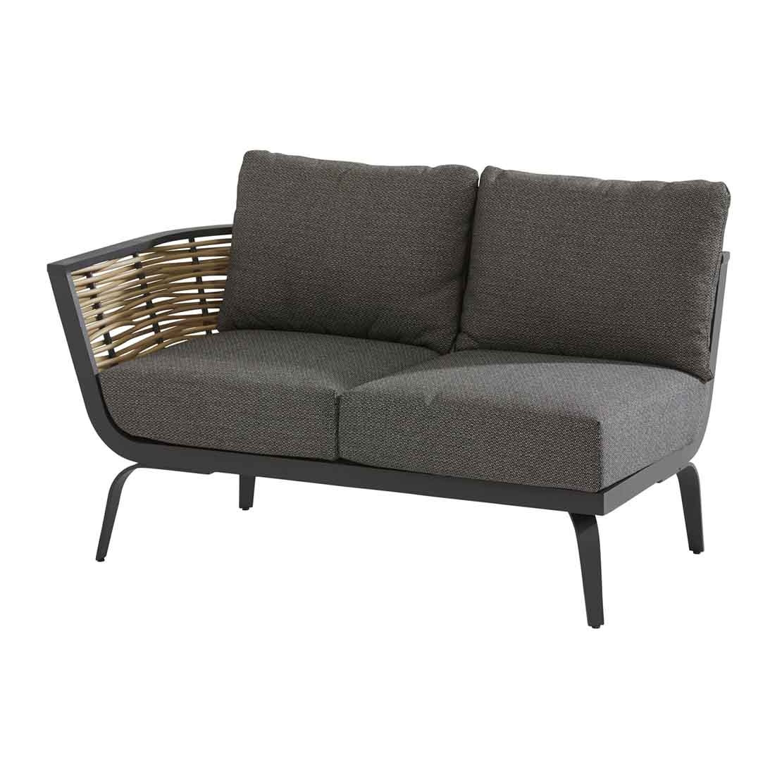 Antibes 2 seater bench right arm with 4 cushions