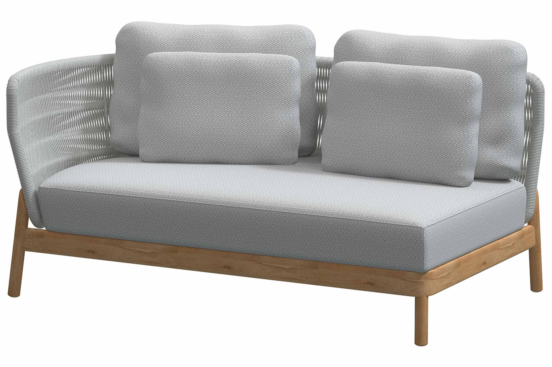 Avalon teak modular 2 seater bench right arm Frozen with 5 cushions