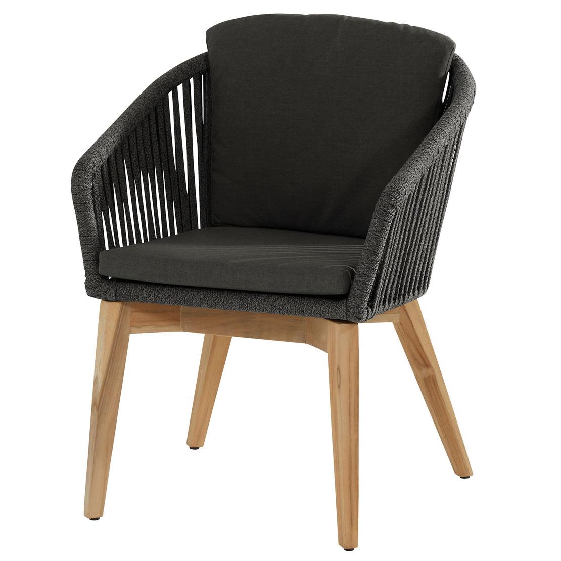Santander dining chair Teak Black rope with 2 cushions