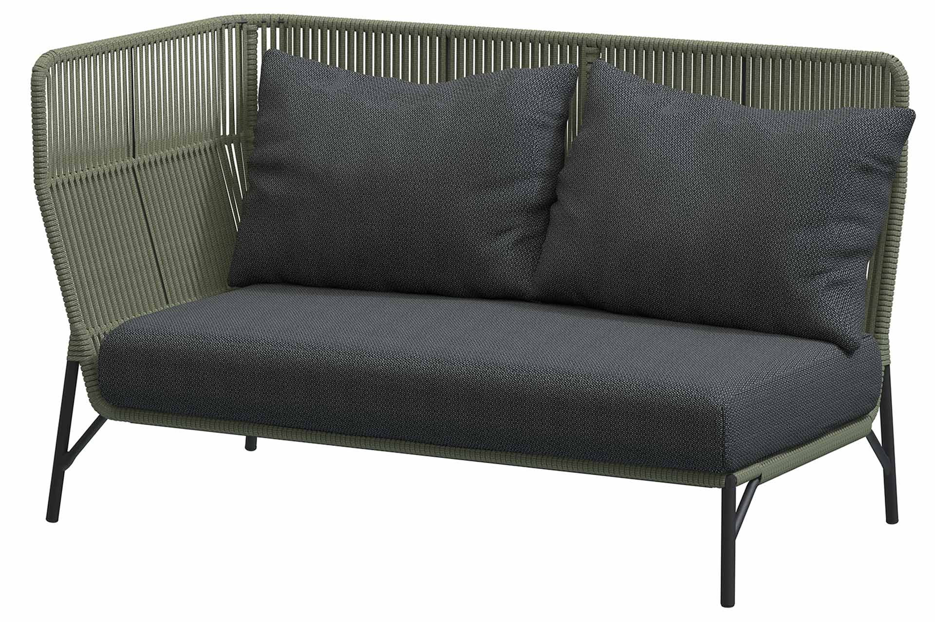 Altoro Modular 2 seater right arm Green with 3 cushions