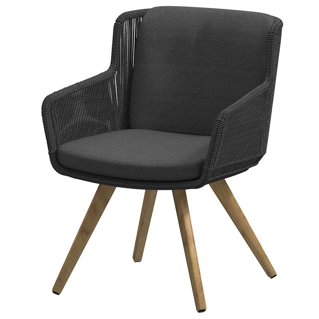 Flores dining chair Teak legs Anthracite with 2 cushions