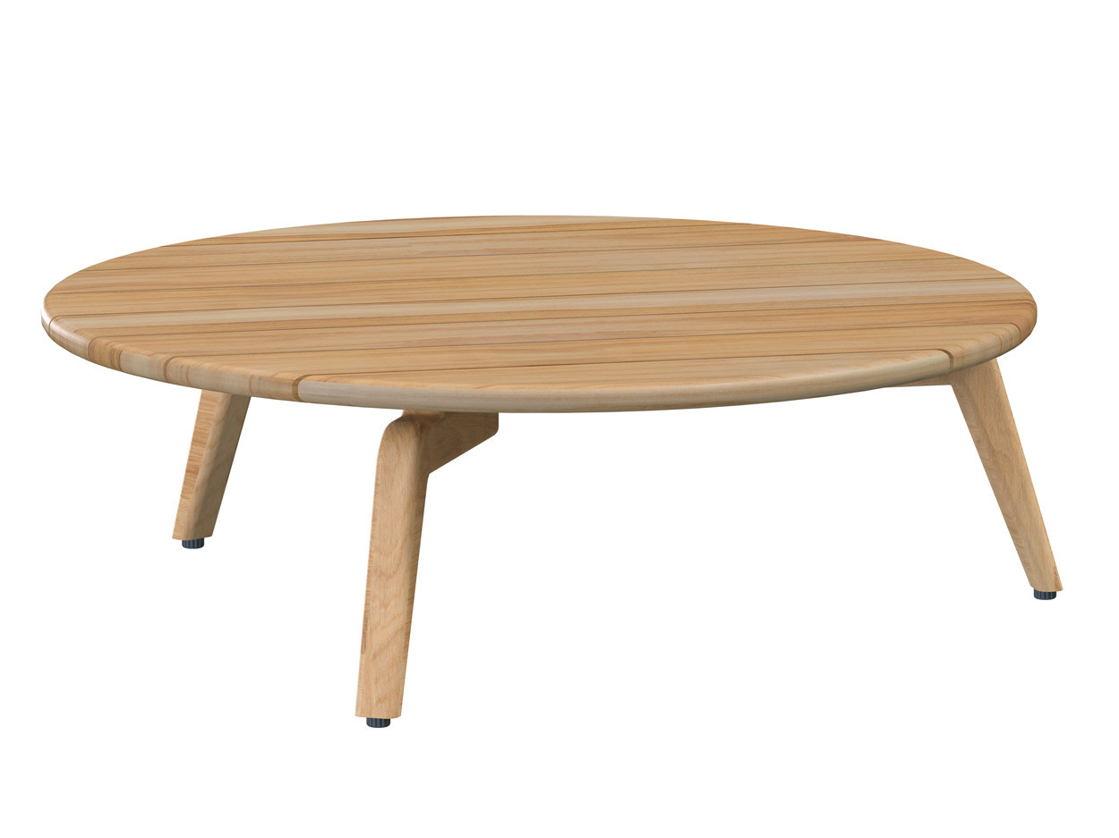 Zucca coffee table Natural Teak round 90 cm. Teak legs (H30)