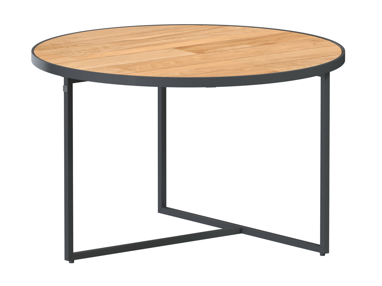 Strada coffee table Natural teak round 58.5 cm. Alu legs (H35)