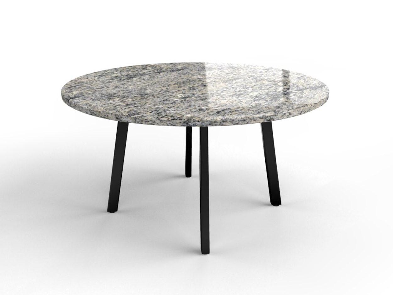 Granieten tafel met gecoat stalen onderstel