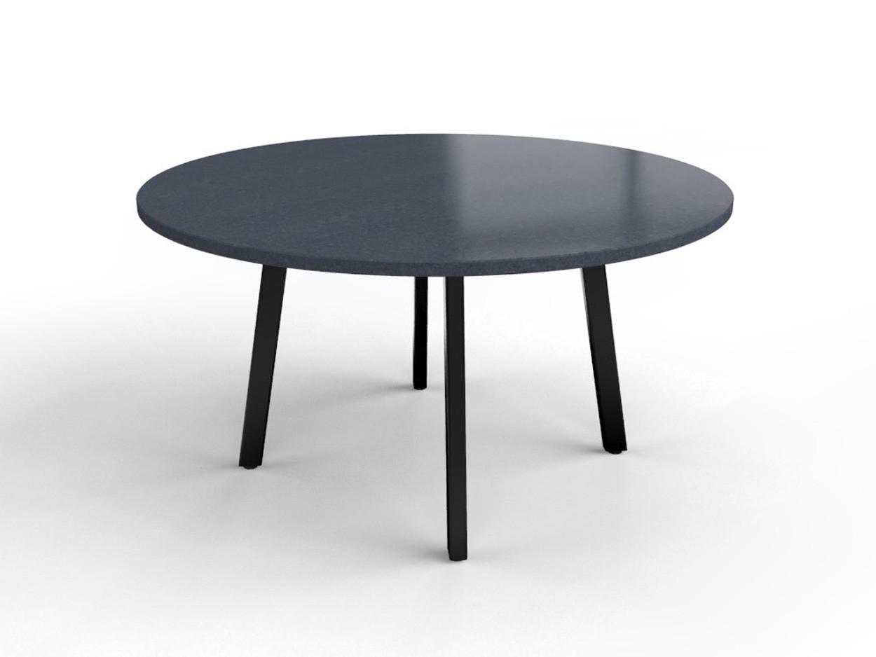 Nero Assoluto (gezoet) ronde granieten tafel met gecoat stalen frame