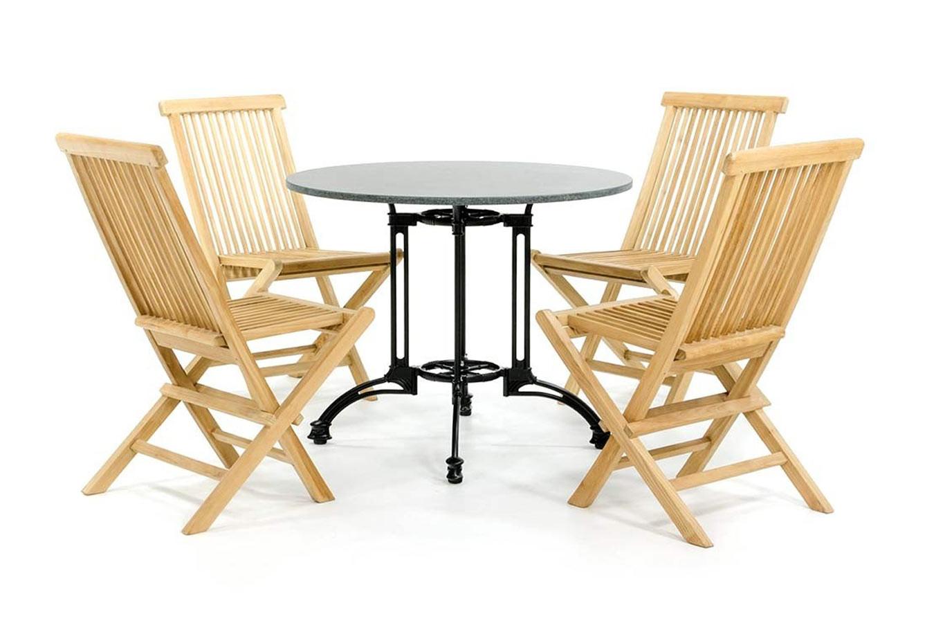 Granieten bistroset met 4 houten stoelen