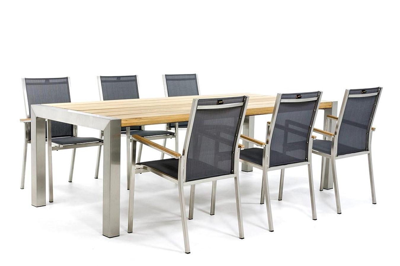 RVS tuintafel met teak tafelblad en RVS stoelen