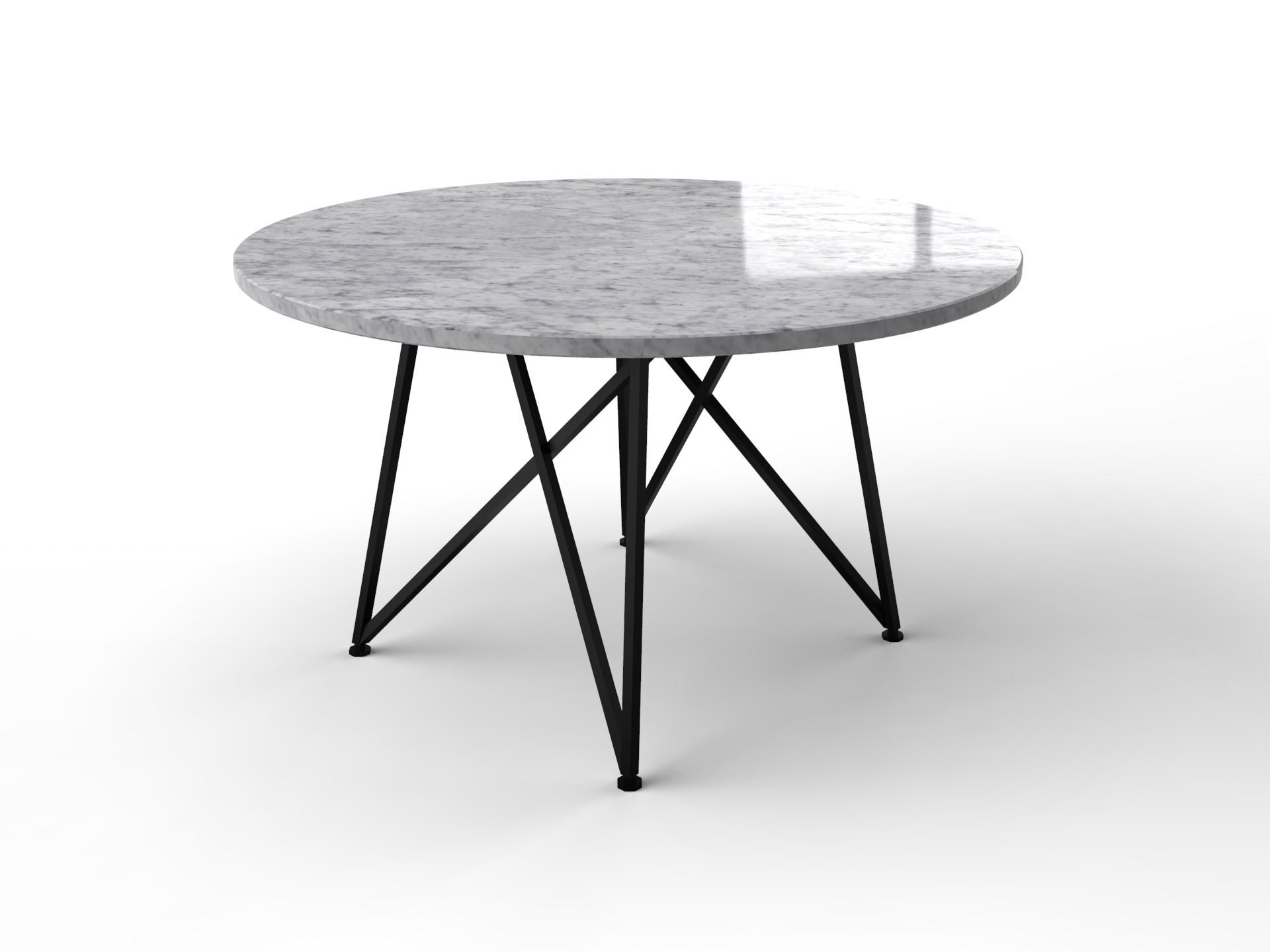 Wit marmeren tafel Bianco Carrara met zwart genua onderstel