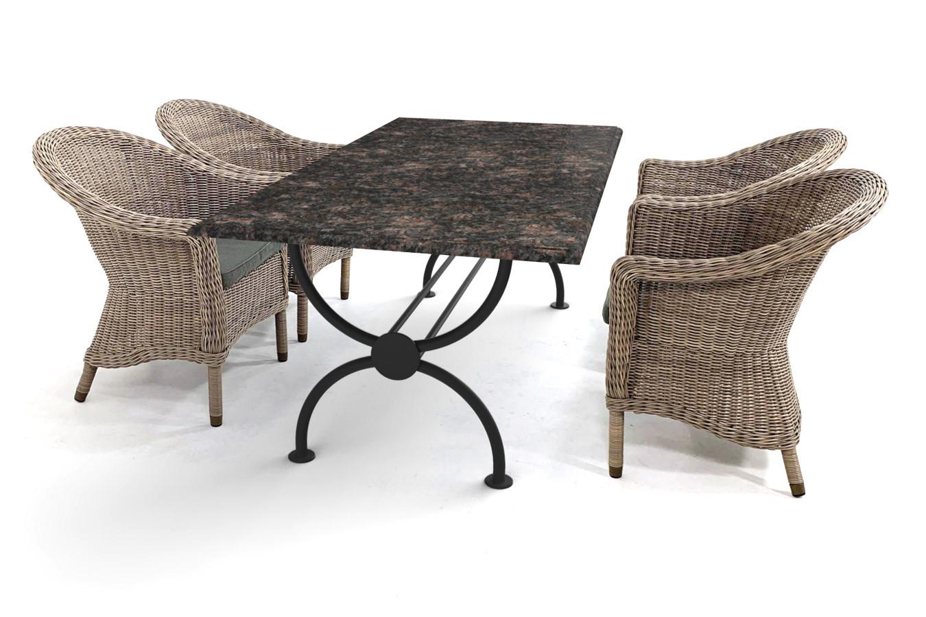 Granieten tuintafel met klassiek Rondo tafelonderstel en heerlijke vlechtwerk stoelen van 4SO