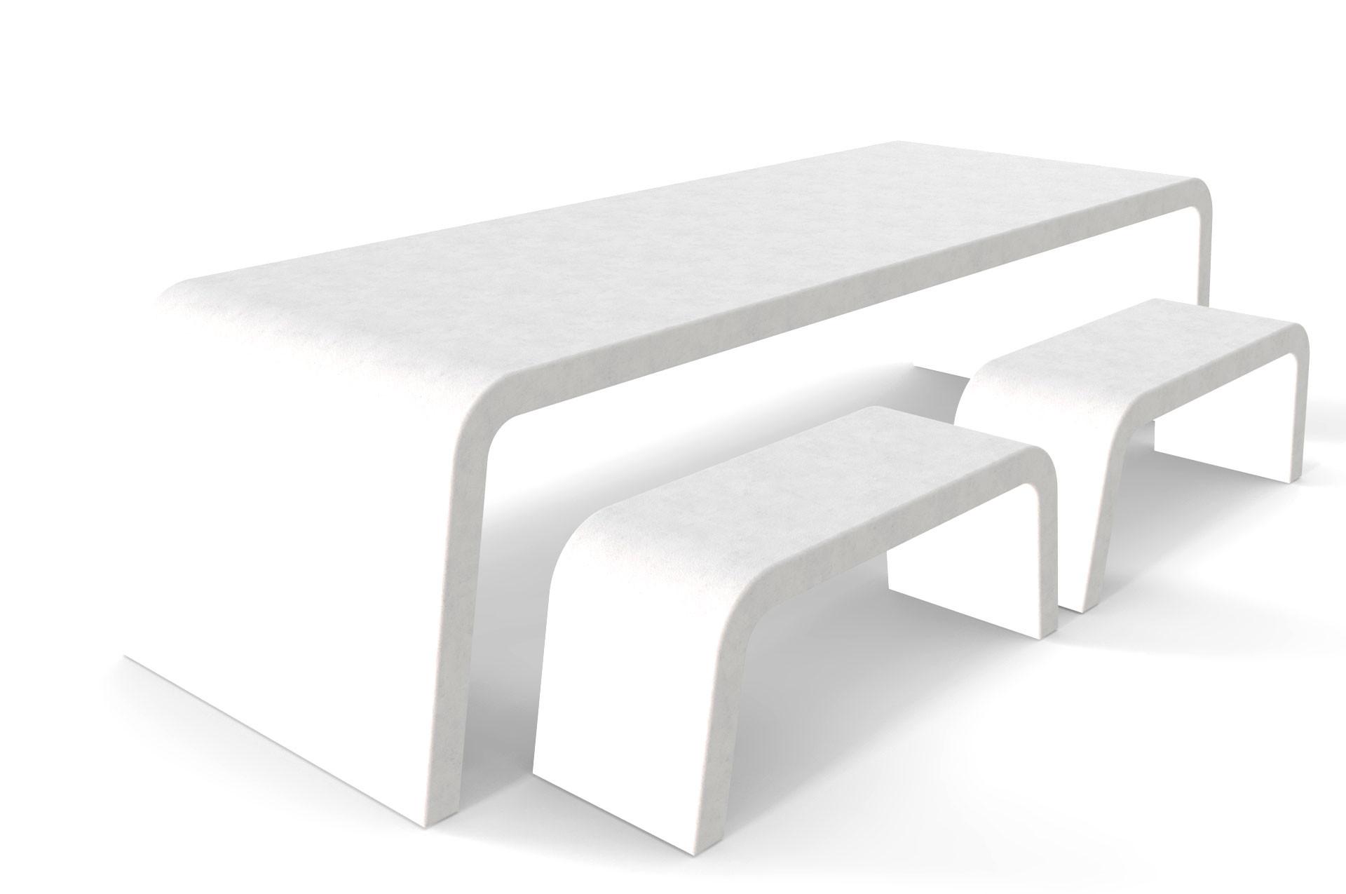 Witte Liv betonlook tafel met vier banken
