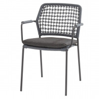 Barista stacking chair Blue with cushion