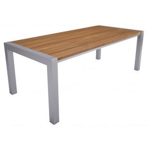 Houten tafel met rvs onderstel