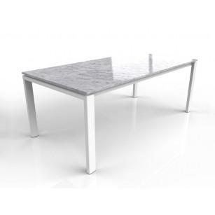 Bianco carrara marmeren tafel met wit onderstel
