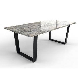 Rechthoekig granieten tafelblad met modern gecoat tafelonderstel