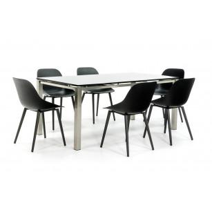 RVS Tuintafel met 6 moderne kuipstoelen