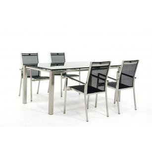 RVS Tuintafel met RVS stoelen
