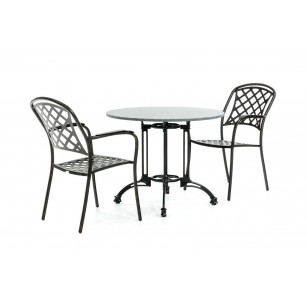Granieten bistroset met klassieke stoelen