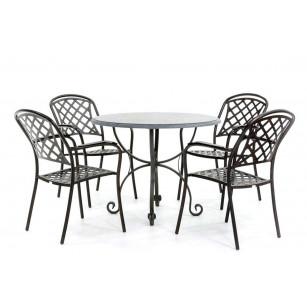 Hardstenen tafel met smeedijzeren onderstel en stoelen