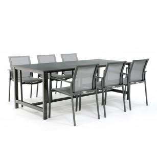Industriële stalen tafel met Dekton tafelblad