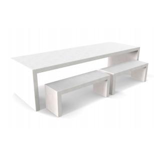 Witte betonlook tafel Lars met vier banken