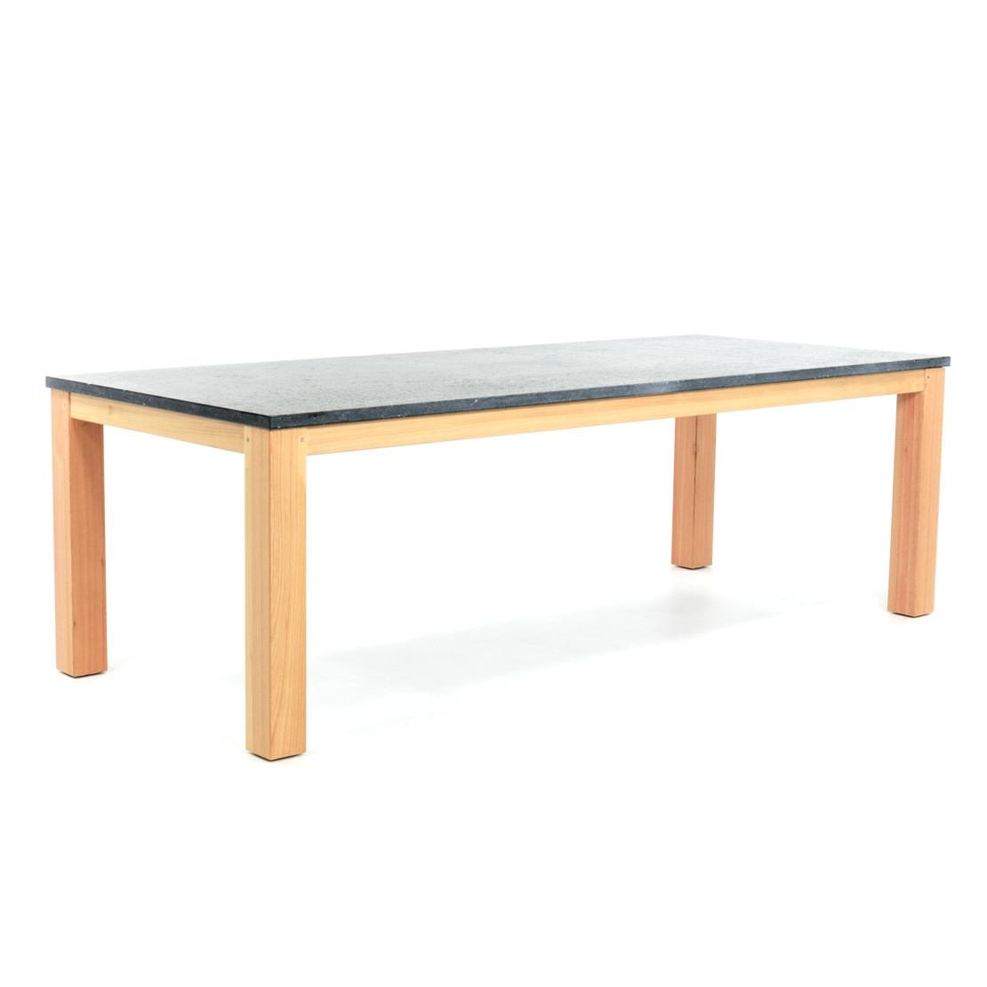Hardstenen tafelblad met hardhouten tafelonderstel