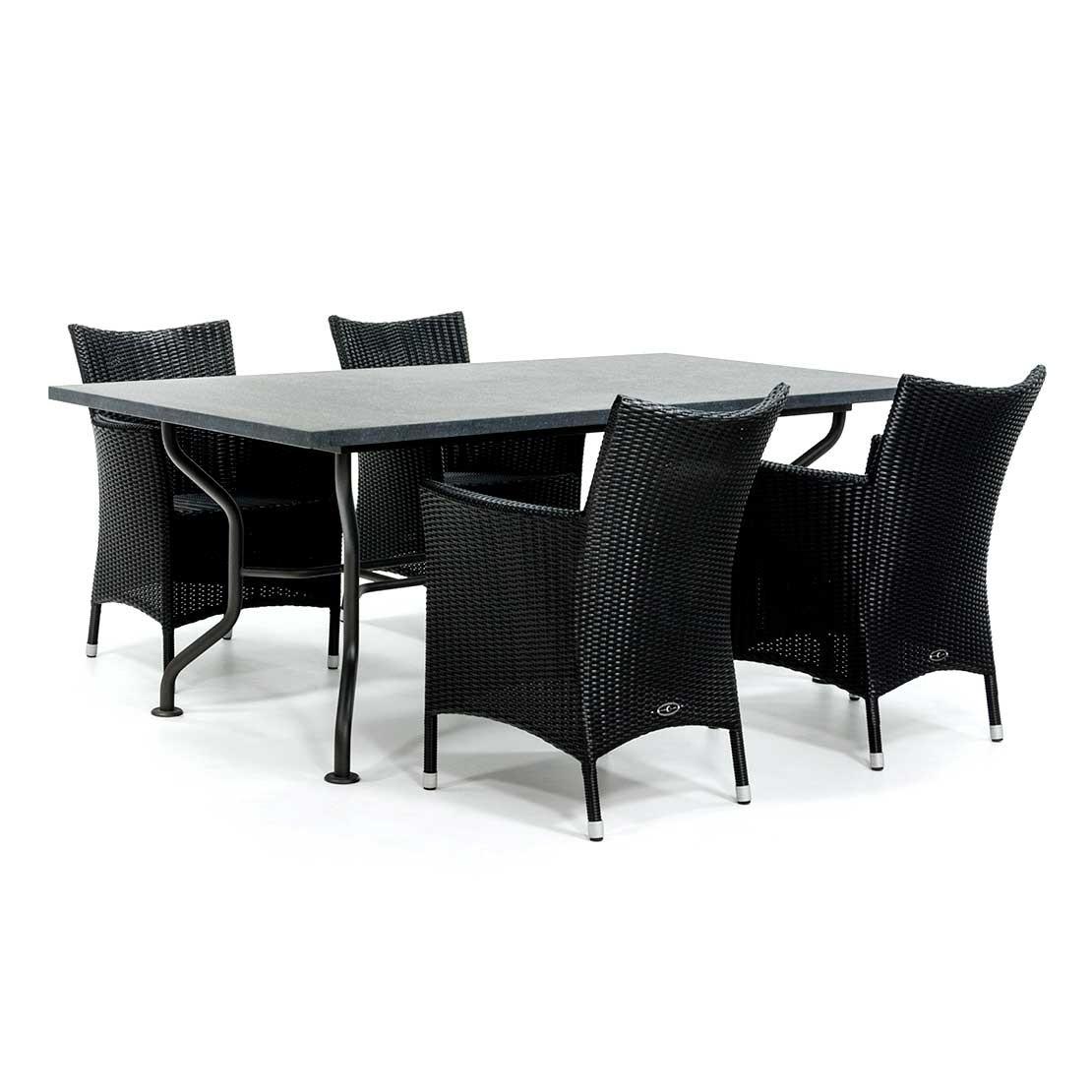 Basalt tafelblad met stalen onderstel