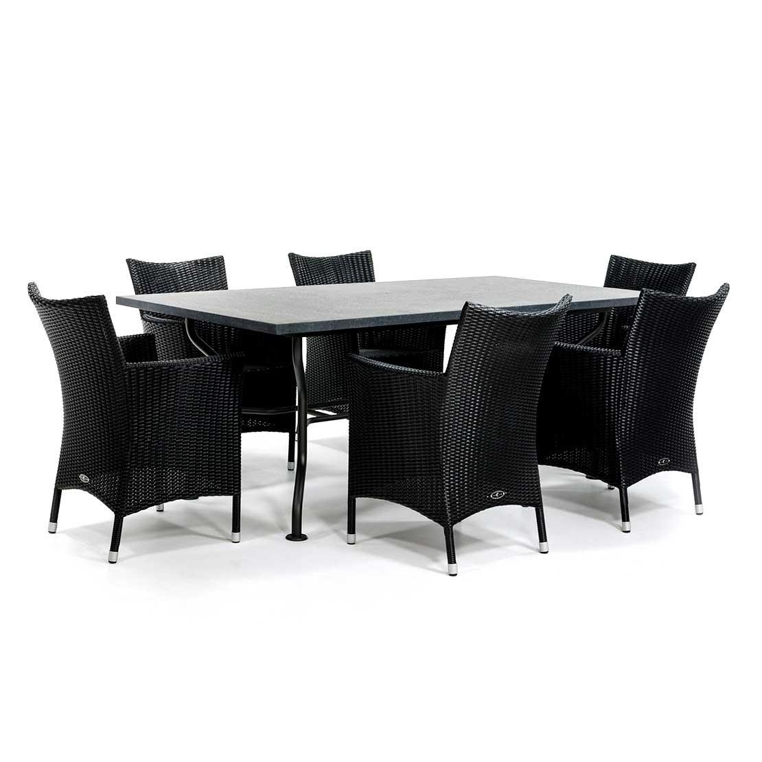 Basalt tuintafel met vlechtwerk stoelen