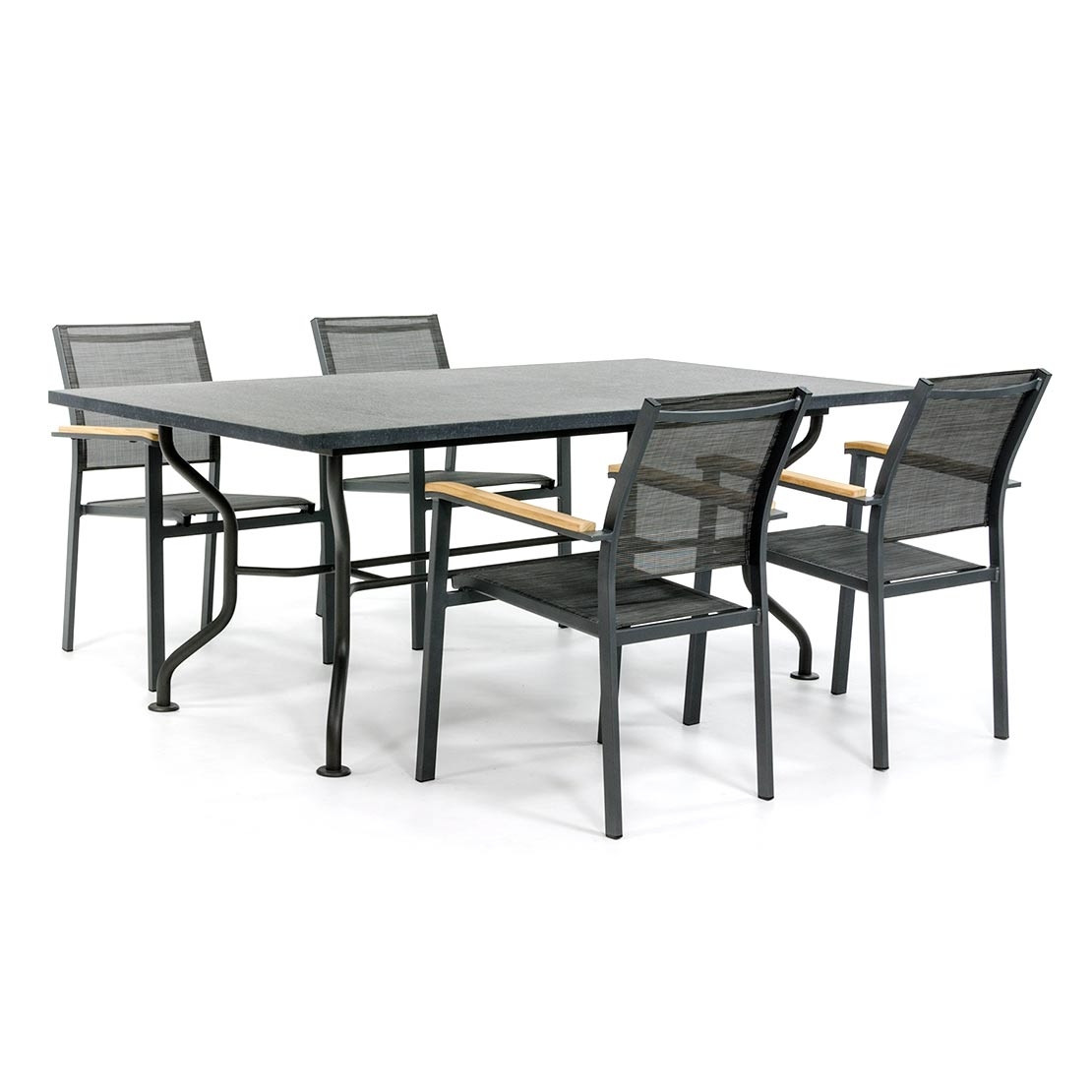 Basalt tuintafel met textilene stoelen