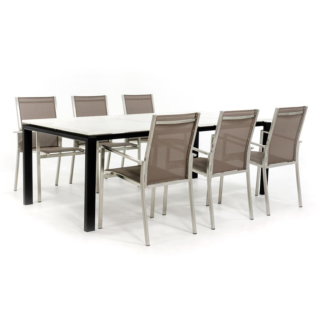 Dekton Entzo tuinset met RVS stoelen