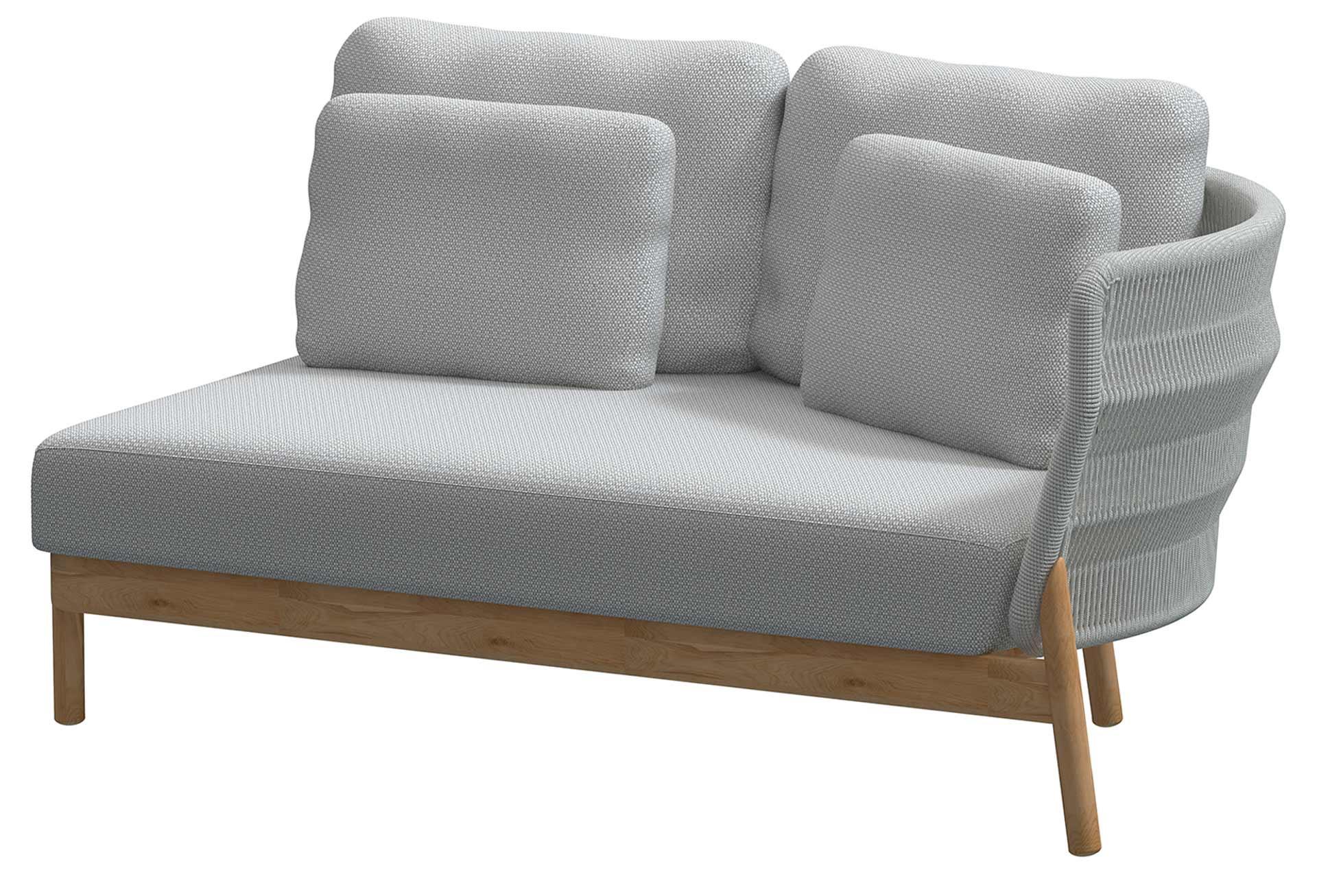 Avalon teak modular 2 seater bench left arm Frozen with 5 cushions