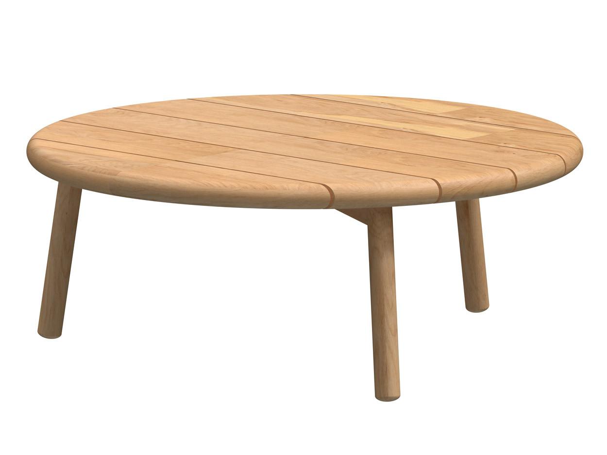 Ceylon coffee table Natural Teak round 90 cm. Teak legs (H35)