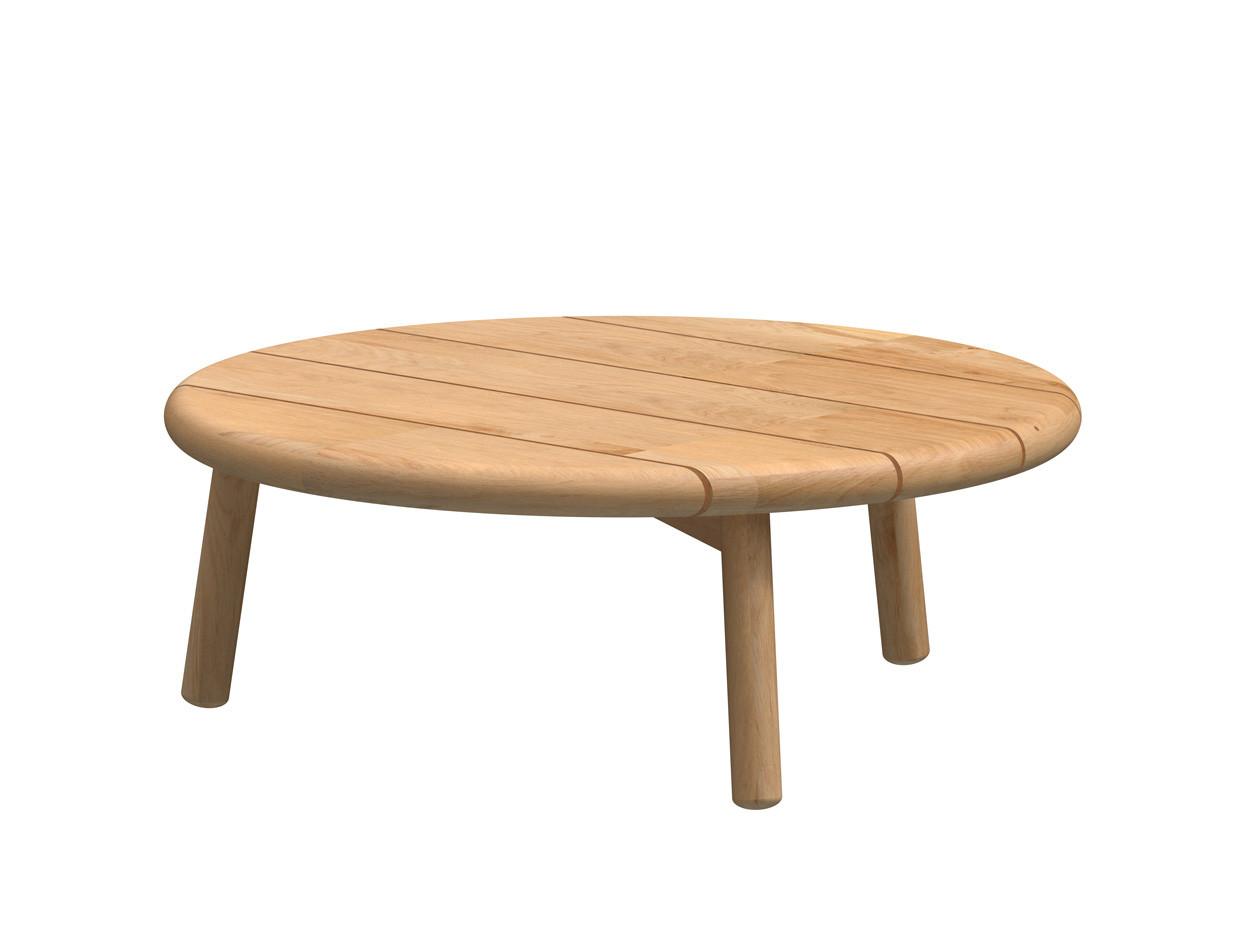 Ceylon coffee table Natural Teak round 75 cm. Teak legs (H28)
