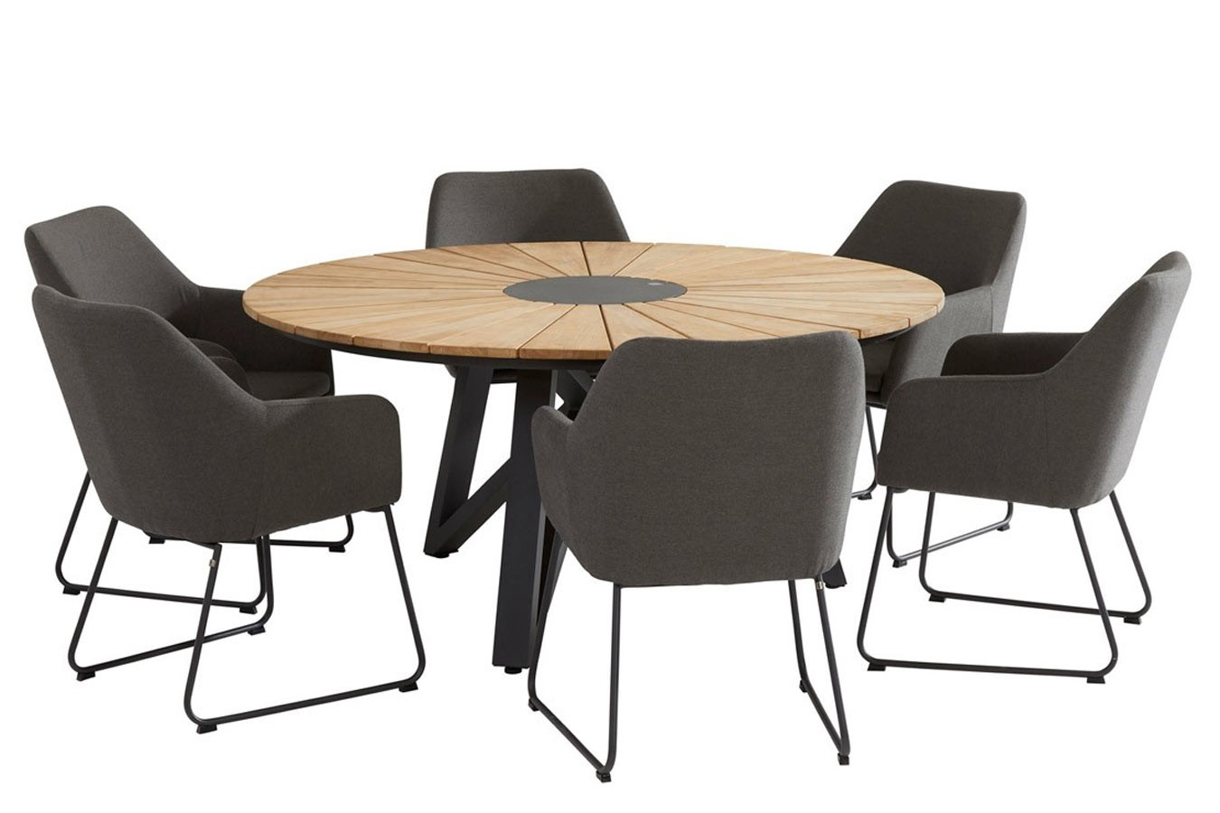 Global dining table set met Amora dining stoelen
