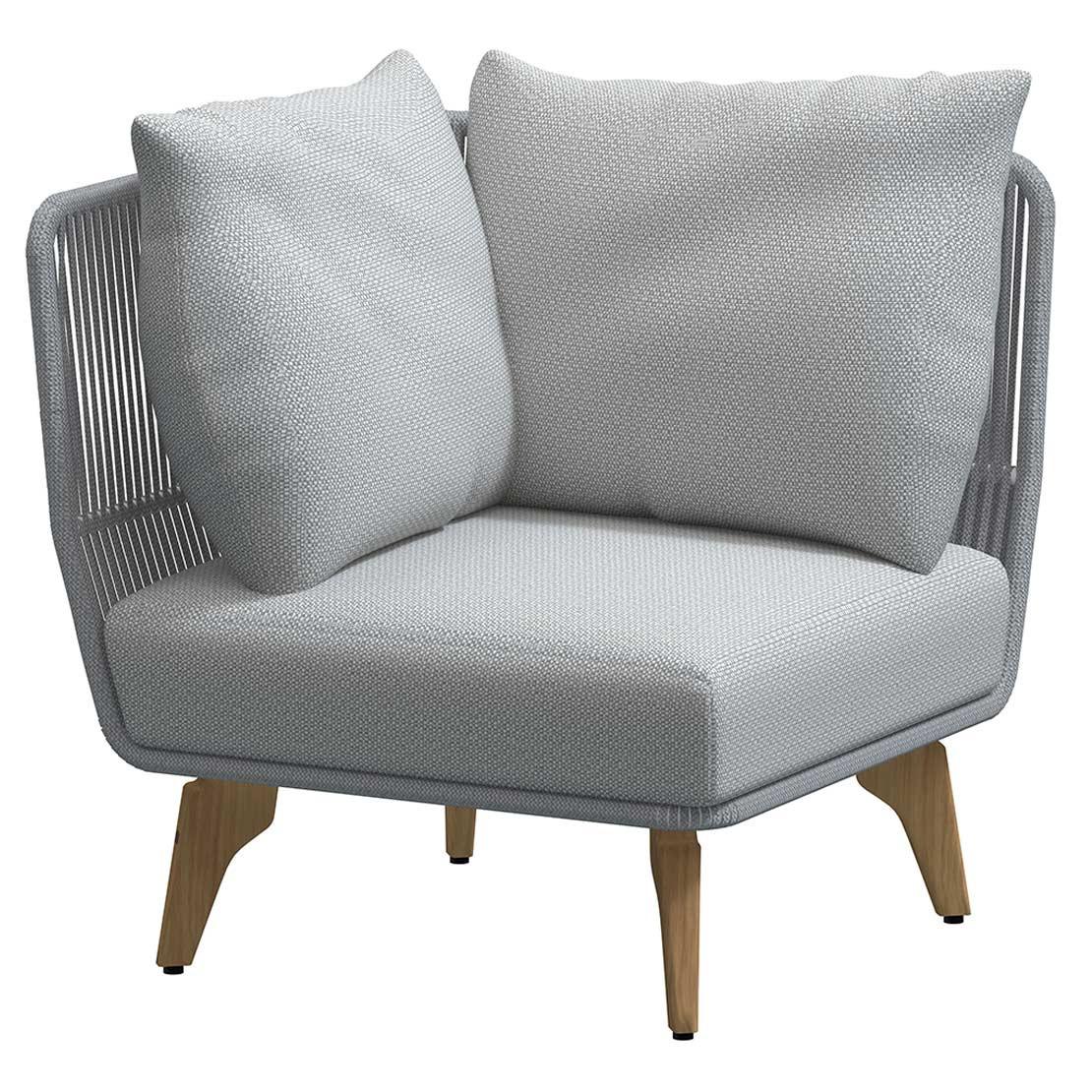 Raphael Modular Teak Frozen corner with 3 cushions