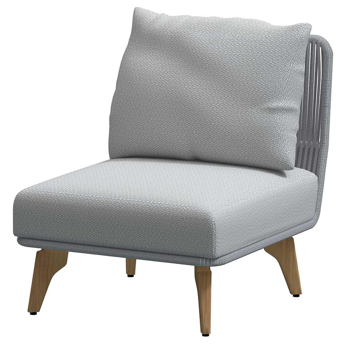 Raphael Modular Teak Frozen center with 2 cushions