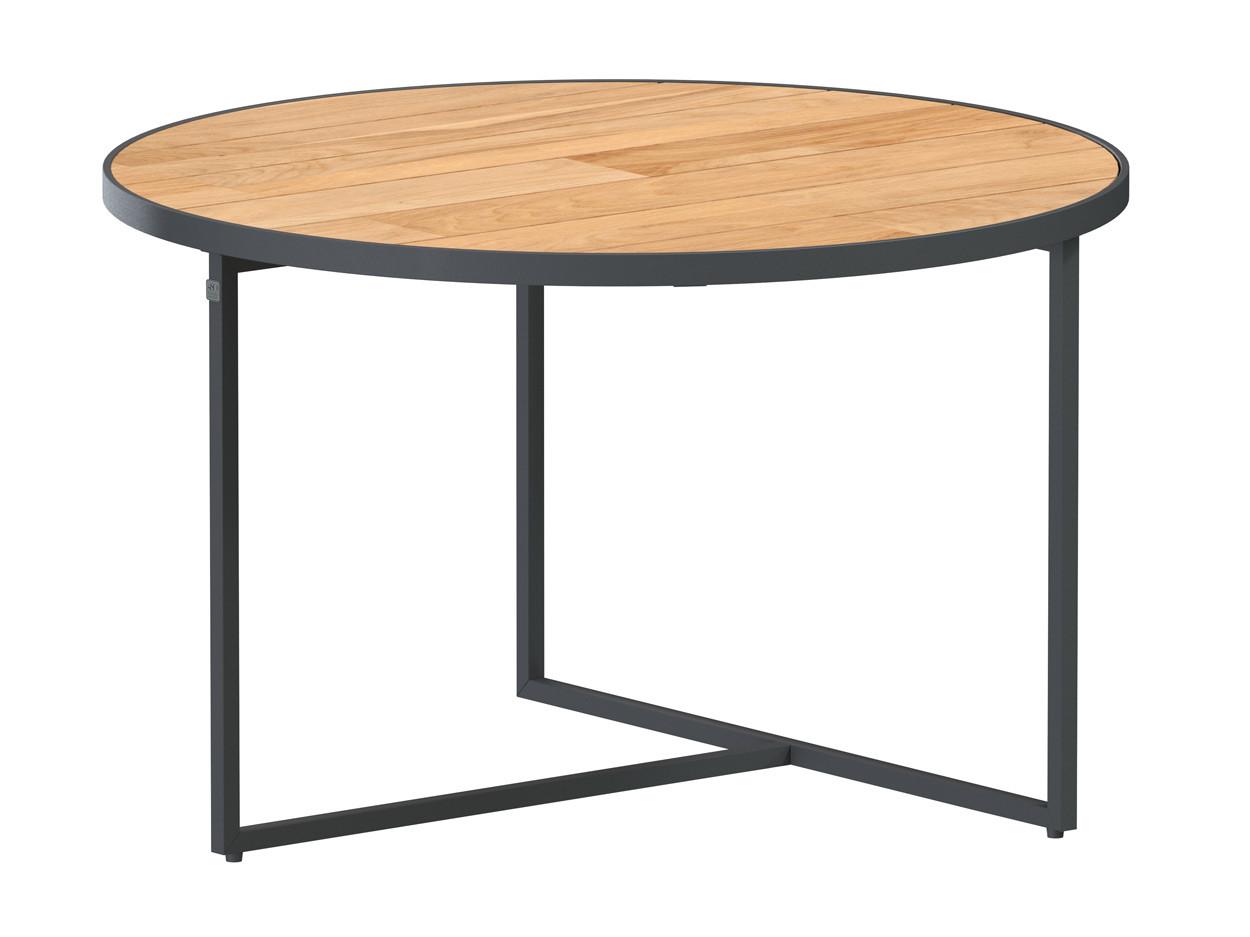 Strada coffee table Natural teak round 585 cm Alu legs (H35)