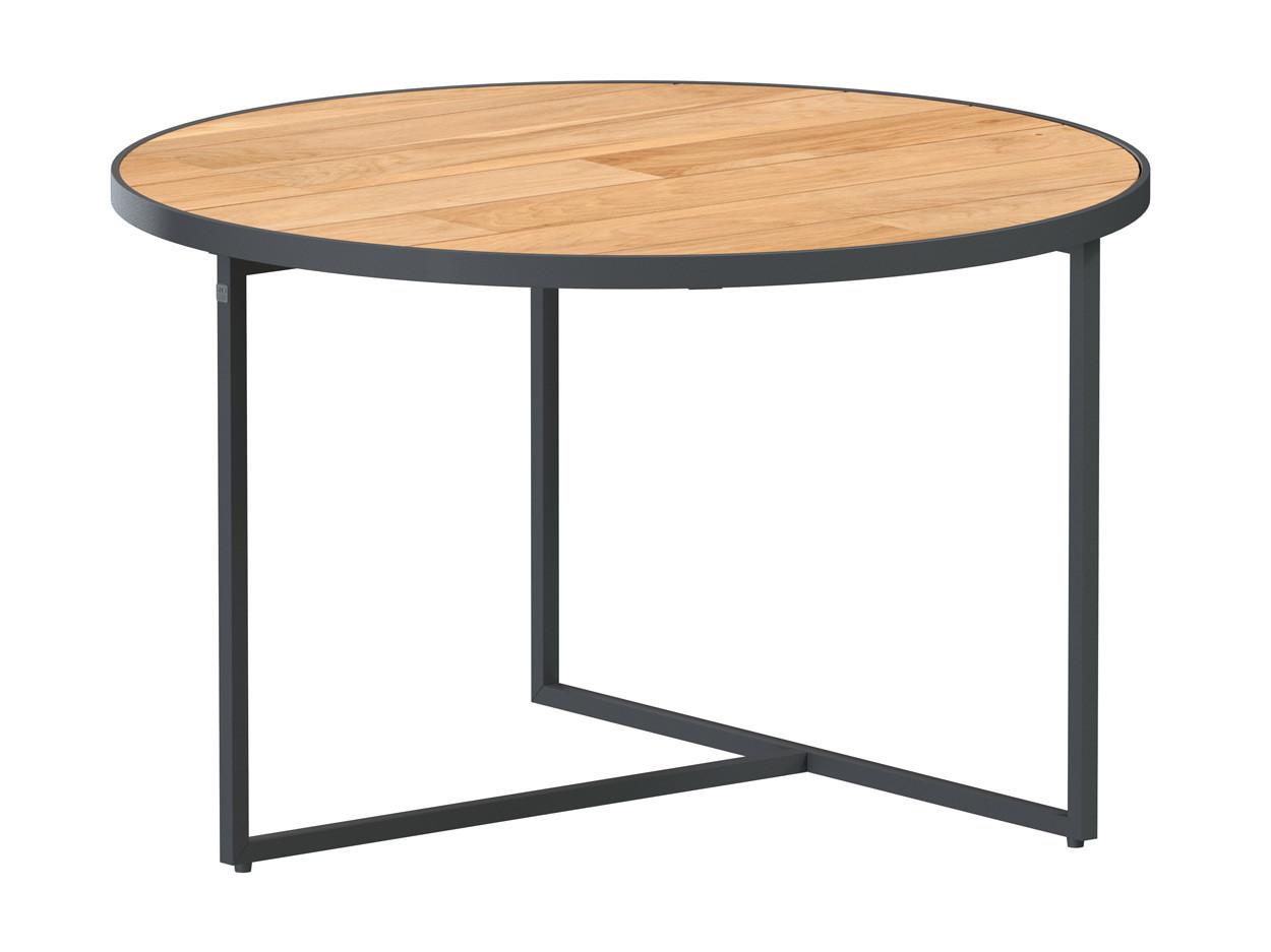 Strada coffee table Natural teak round 73 cm Alu legs (H40)