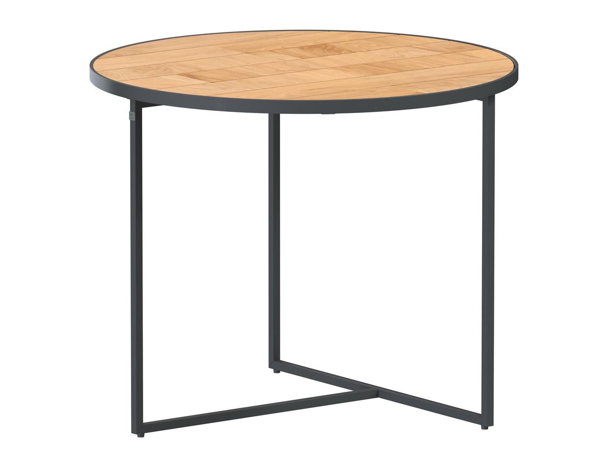 Strada side table Natural teak round 55 cm. Alu legs (H45)