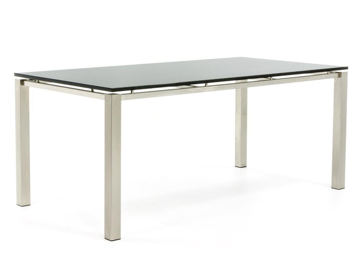 RVS Tuintafel met zwevend gepolijst tafelblad