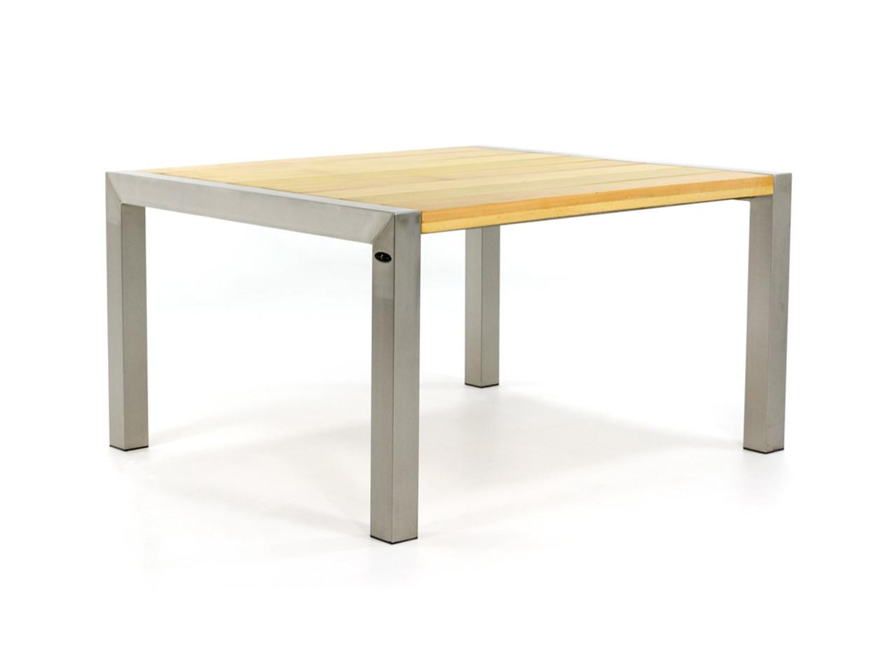 RVS tuintafel met houten blad