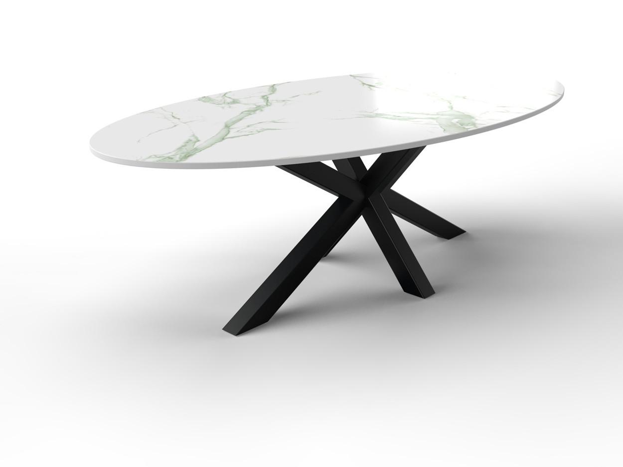 Ovale marmeren tafel gemaakt van Dekton met stalen onderstel