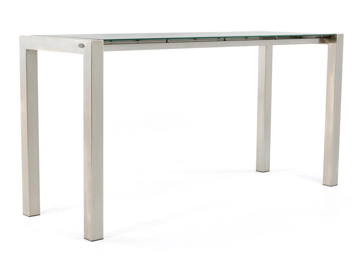 RVS bartafel met glazen tafelblad