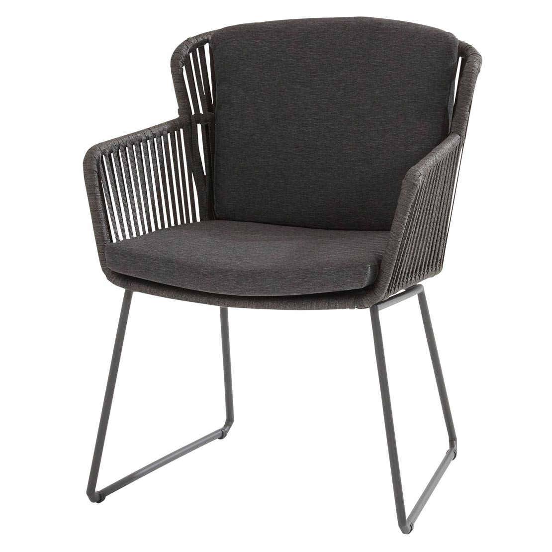 Vitali dining chair Webbing Anthracite with 2 cushions