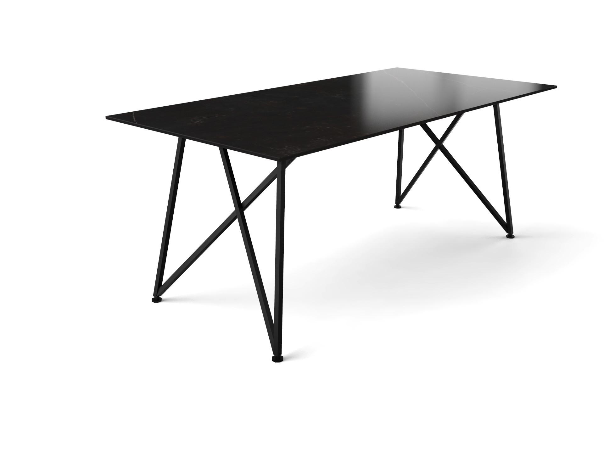 Eettafel Deens design met dun Dekton tafelblad en slank onderstel