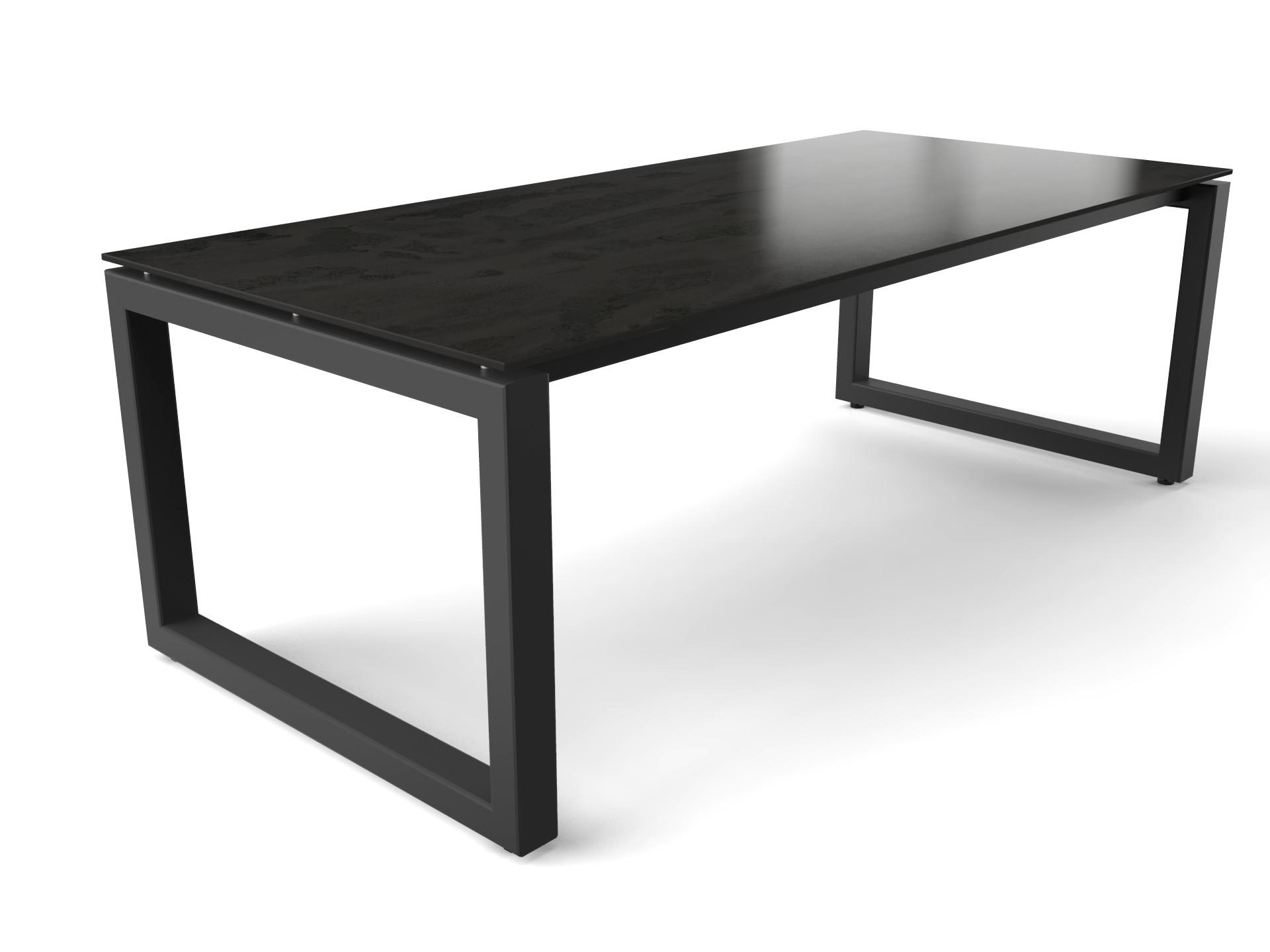Stalen tafel met keramisch Dekton Radium tafelblad
