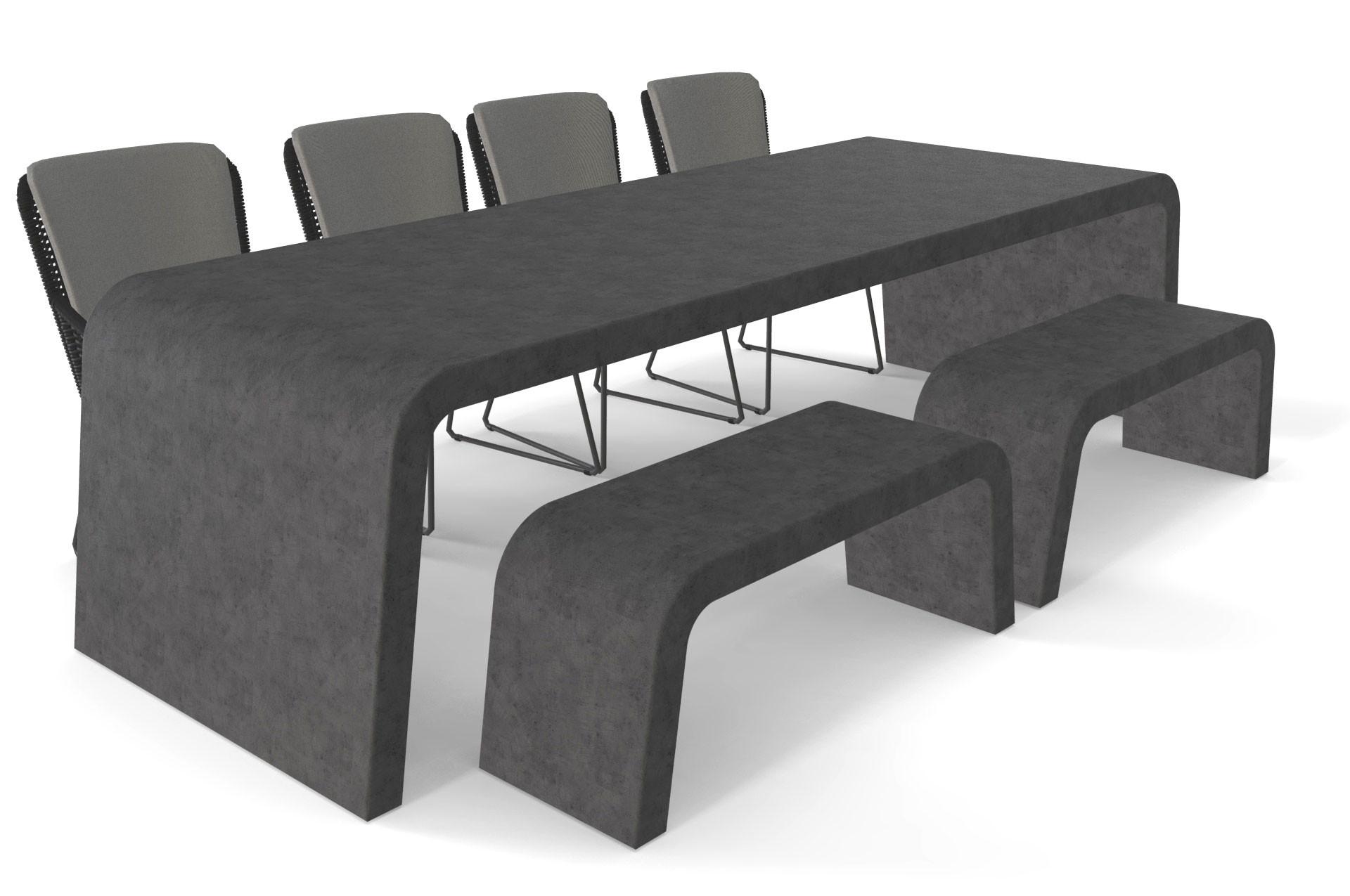 Betonlook tuintafel antraciet met twee banken en stoelen