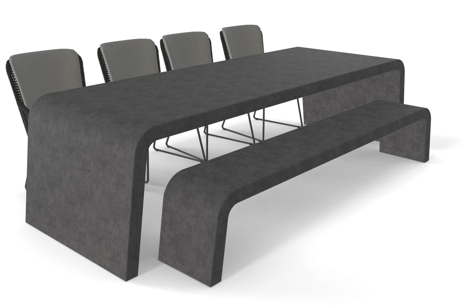 Antraciet betonlook tuintafel met bank en stoelen
