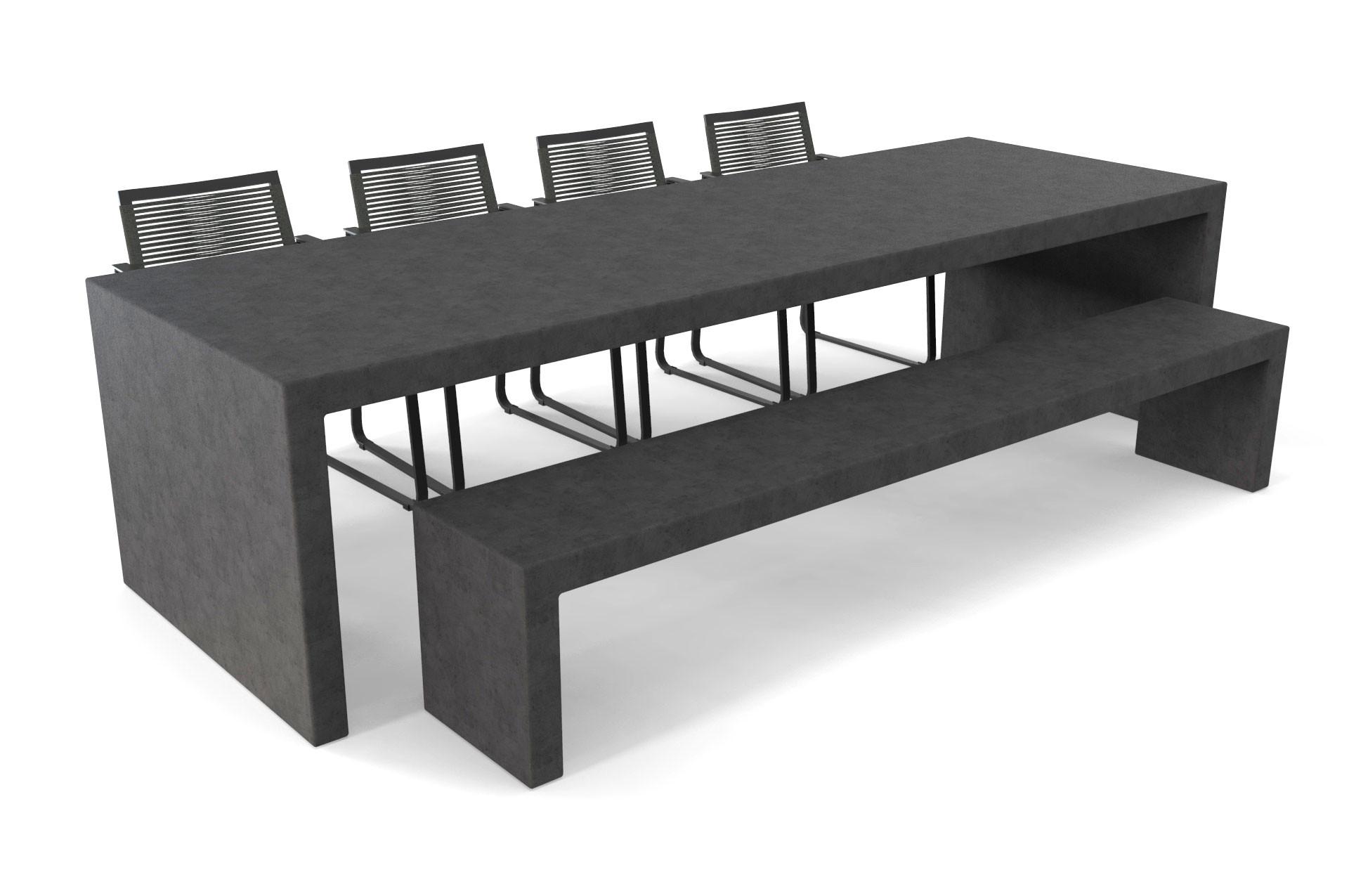 Antracieten betonlook tafel Lars met bank en stoelen