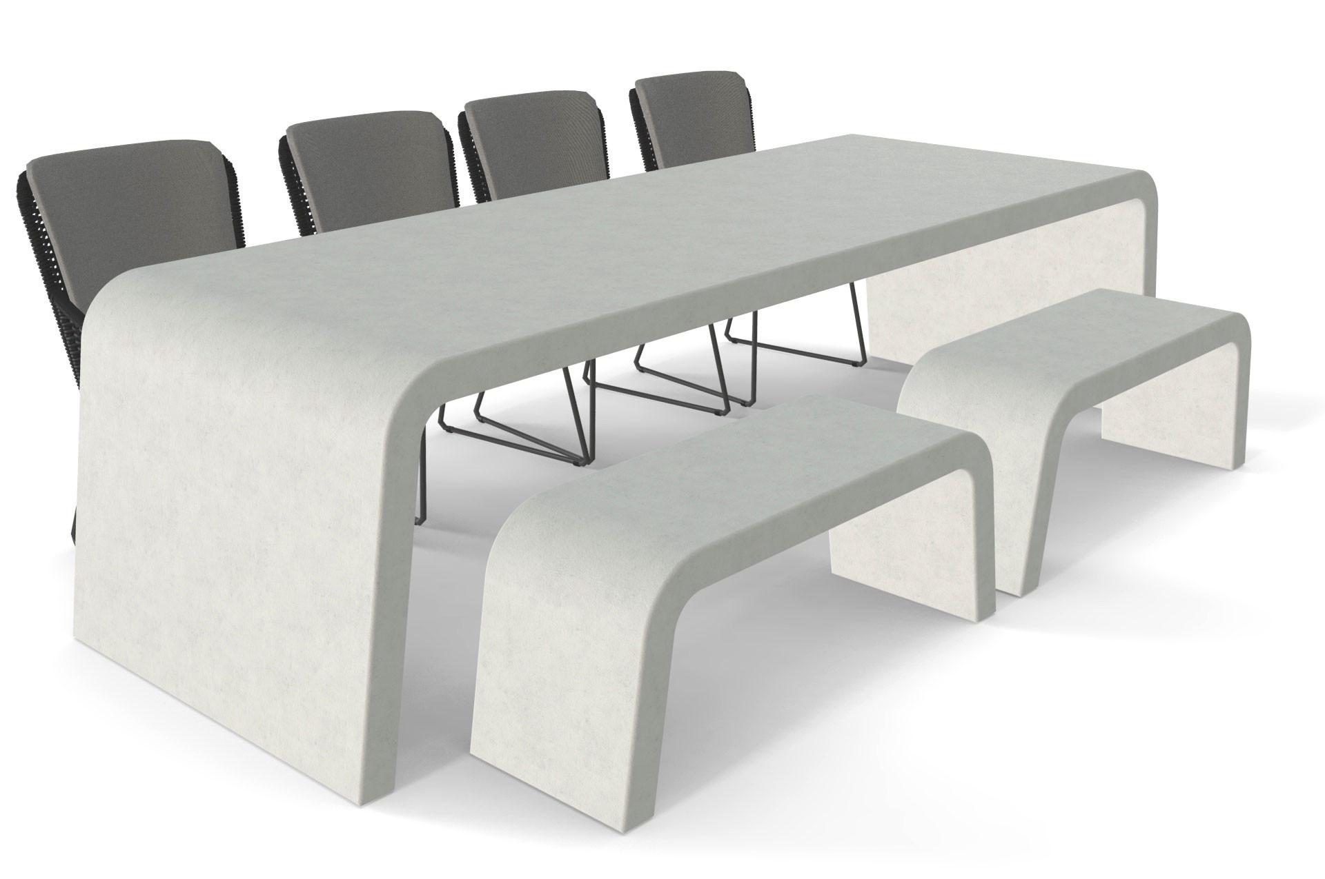 Betonlook tuintafel met twee banken en stoelen
